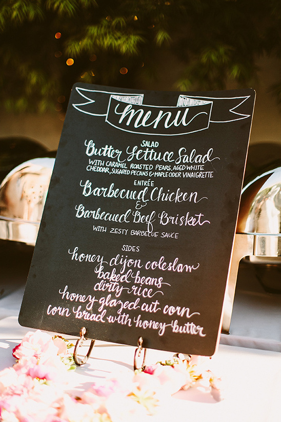 chalkboard wedding menu sign @weddingchicks