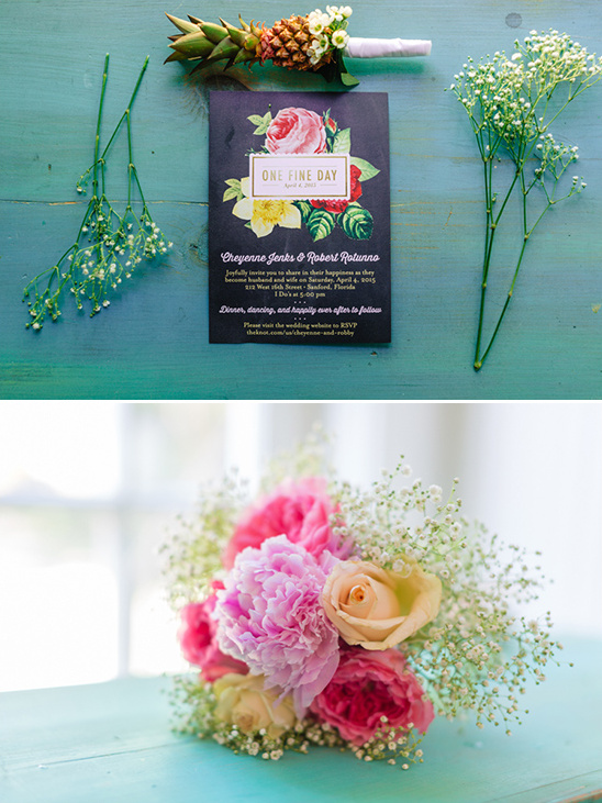 fun and bright stationery and bouquet @weddingchicks
