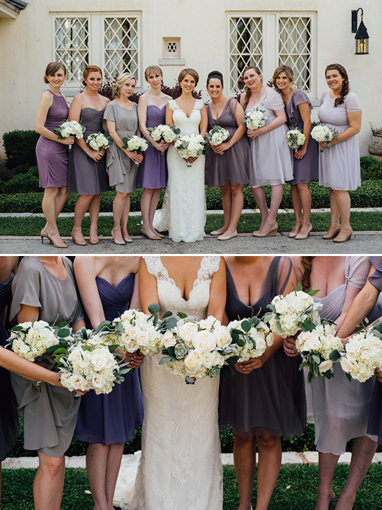 shades of purple bridesmaid dresses @weddingchicks
