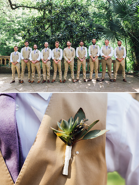 khaki and purple groomsmen attire @weddingchicks