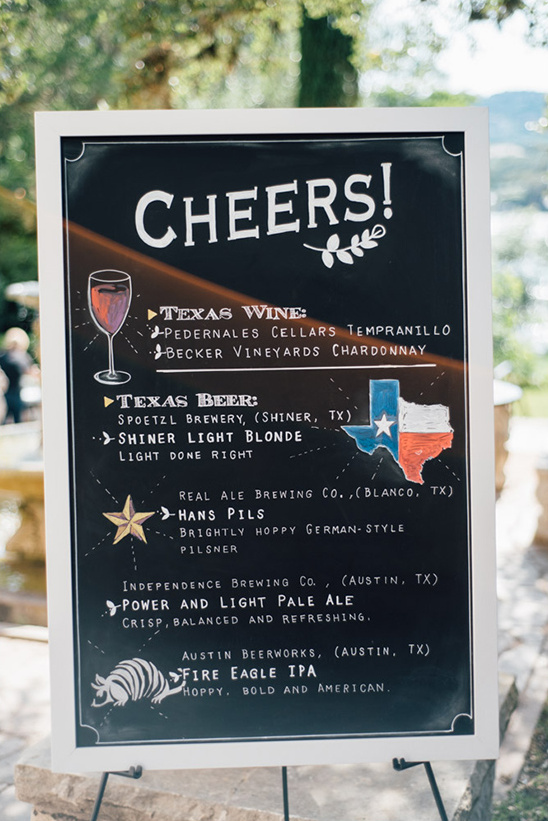 chalkboard drinks sign @weddingchicks