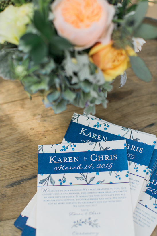 wedding programs in blue @weddingchicks