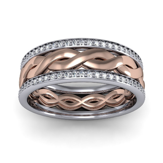 Two-tone men's diamond wedding band from Diamond Mansion. @weddingchicks