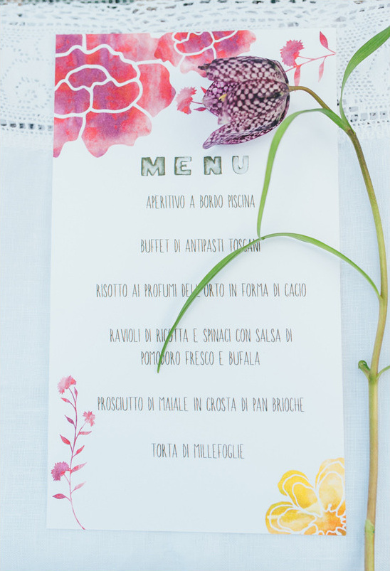watercolor menu @weddingchicks