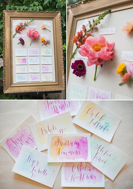 water color seating chart @weddingchicks