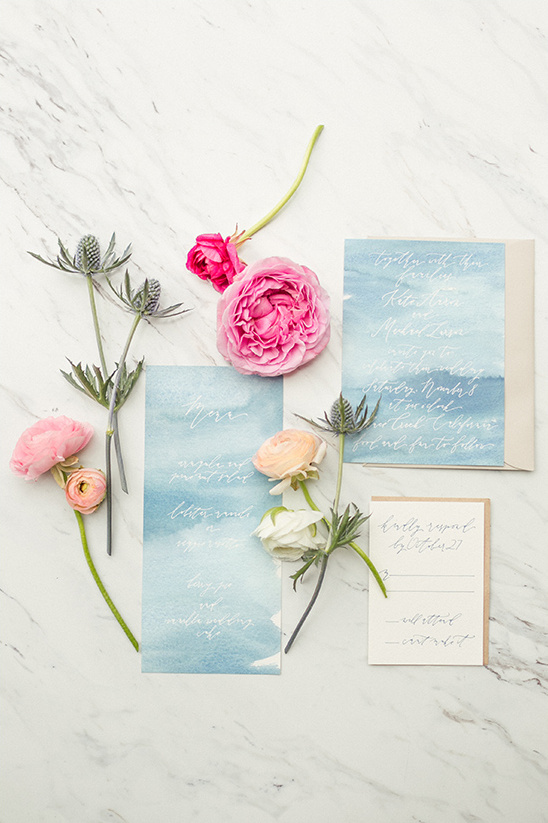blue watercolor invitation idea @weddingchicks