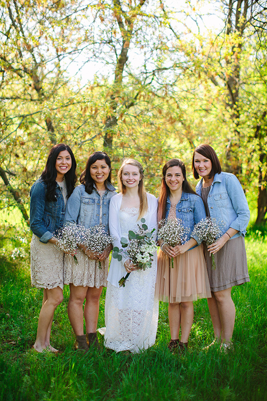 jean jacket bridesmaid look @weddingchicks