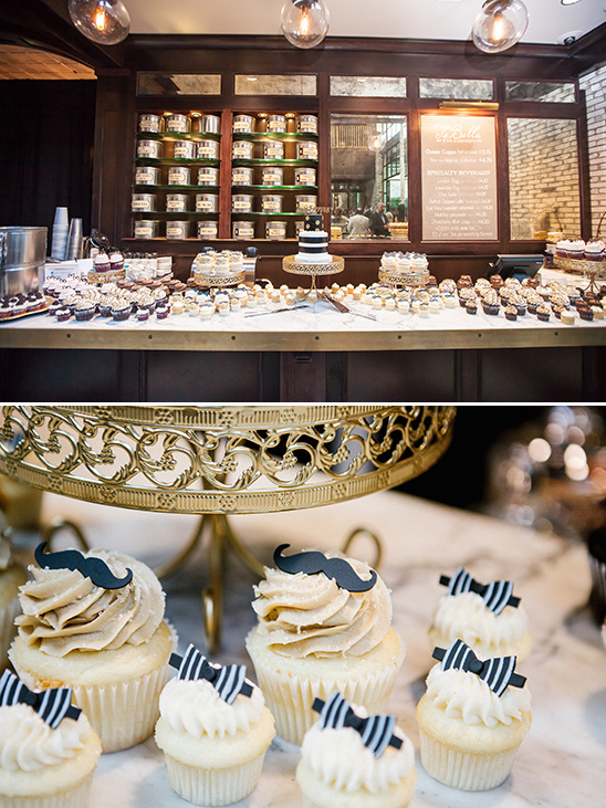 bow tie and mustache cupcakes @weddingchicks