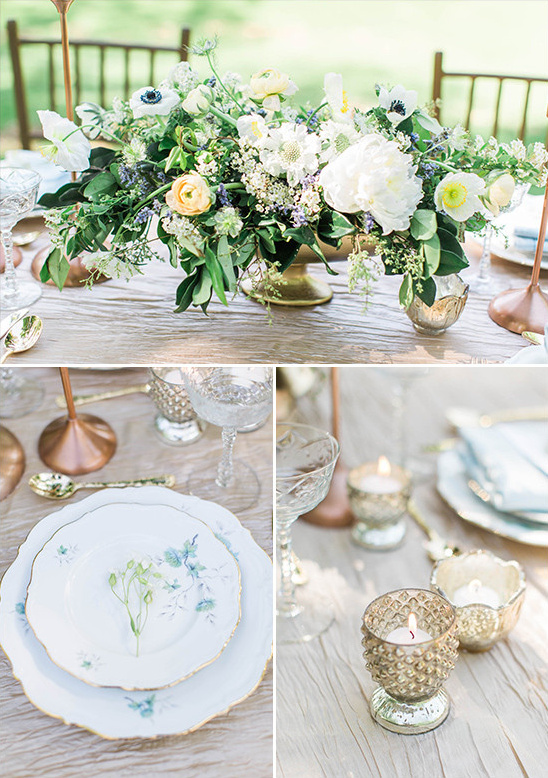 champagne and blue table decor @weddingchicks