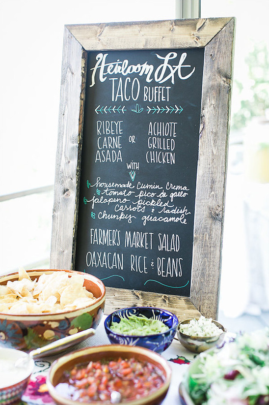 taco buffet sign @weddingchicks