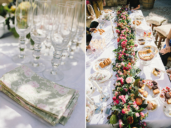 floral print napkins and cascading centerpiece @weddingchicks
