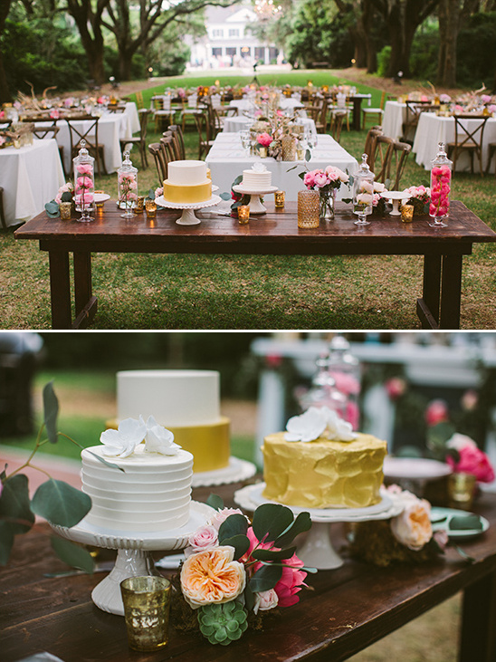 gold and white cake table @weddingchicks
