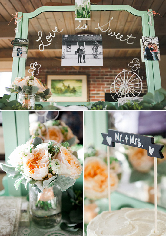 mint cake table decor @weddingchicks