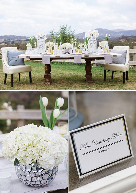 White silver and gold wedding ideas white and silver table decor weddingchicks junglespirit Choice Image