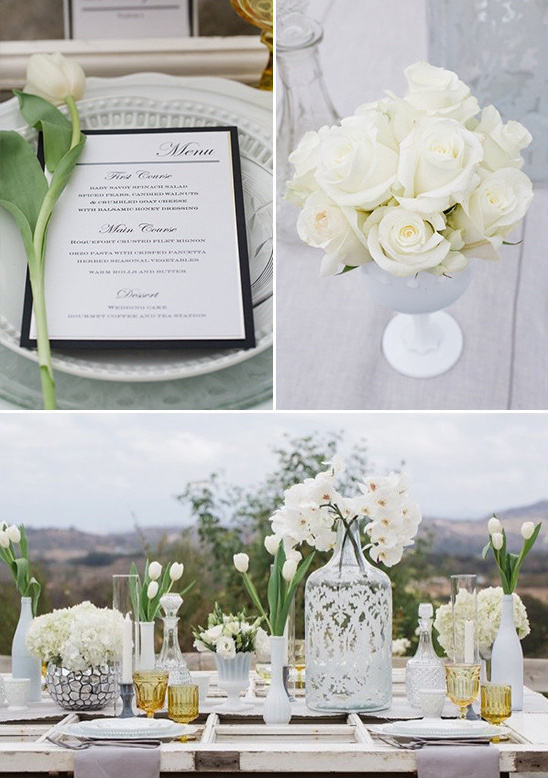 all white floral centerpiece @weddingchicks