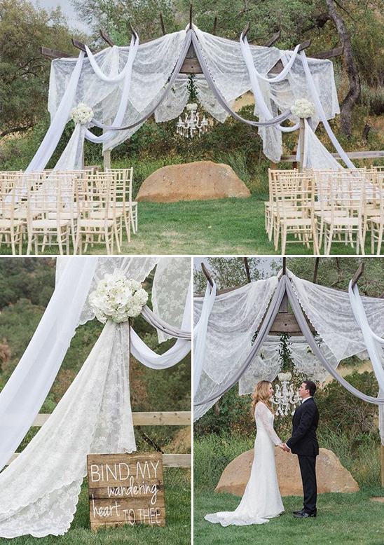fabric drapped ceremony arch @weddingchicks