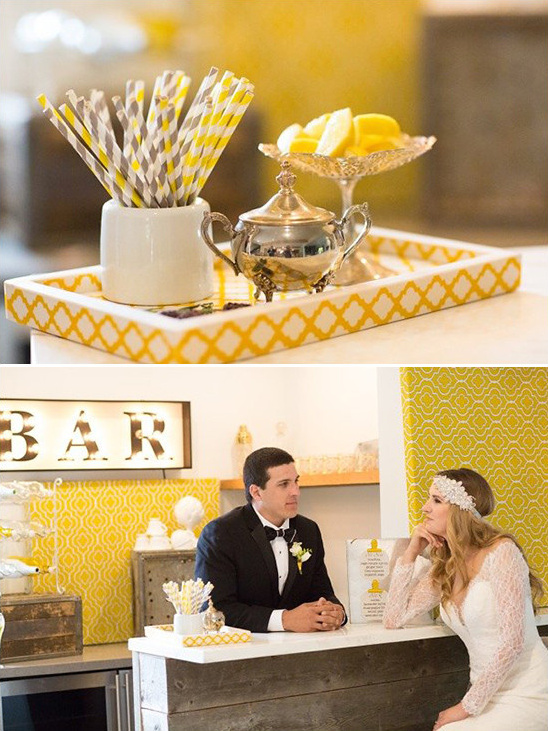 yellow and grey bar @weddingchicks