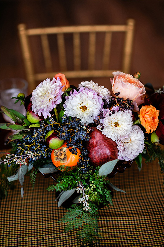 fruit and flower centerpiece @weddingchicks
