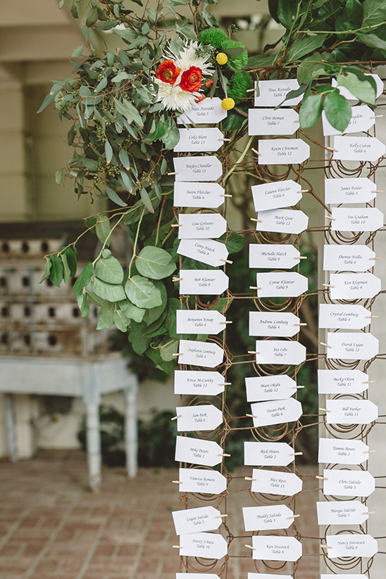 box springs escort card display @weddingchicks