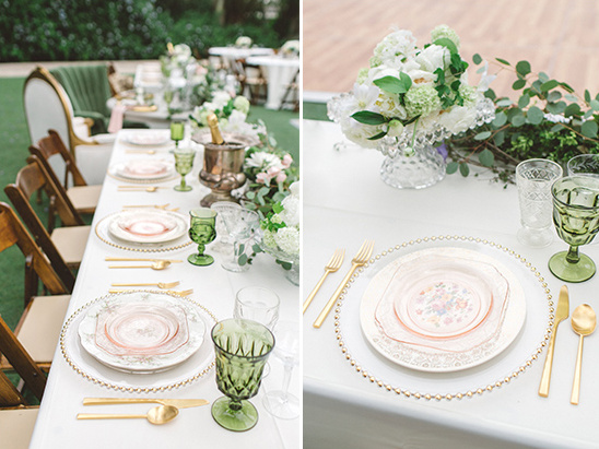 place setting with hints of pink and gold @weddingchicks