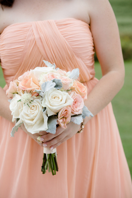 Pretty in peach wedding white and peach bouquet weddingchicks mightylinksfo