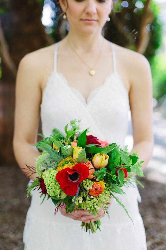 red and yellow wedding bouquet @weddingchicks