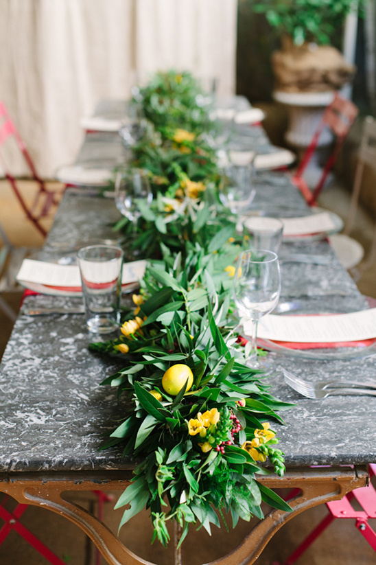 lemon greenery table number @weddingchicks