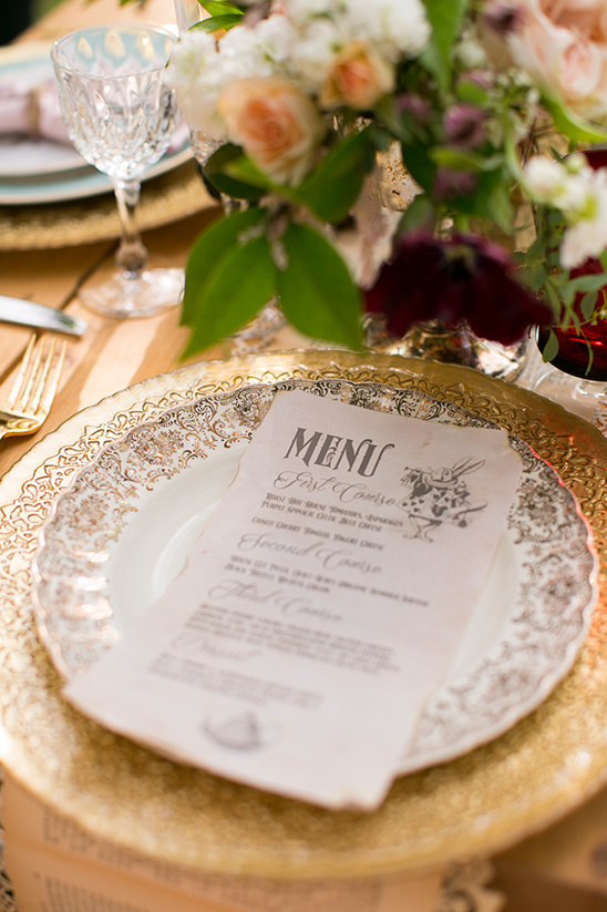 vintage alice in wonderland wedding menu @weddingchicks