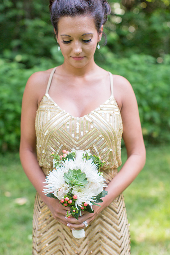 gold maid of honor dress @weddingchicks
