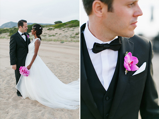 pink orchid boutonnière @weddingchicks