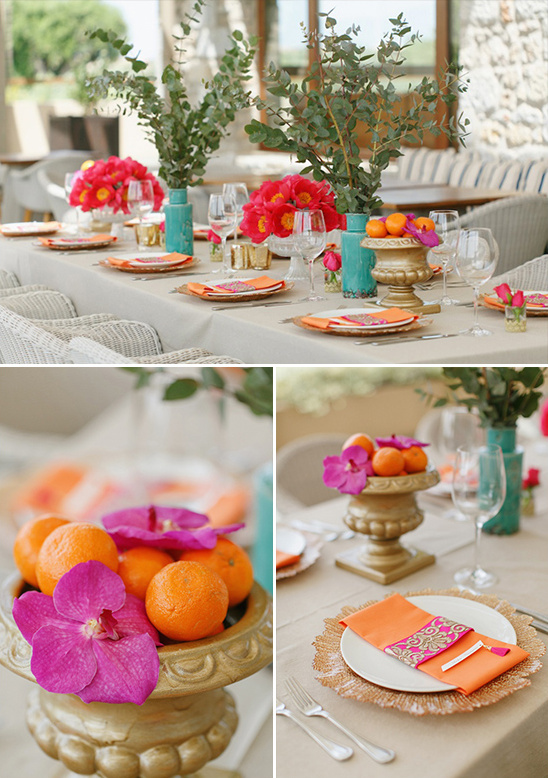 orange and pink table decor @weddingchicks