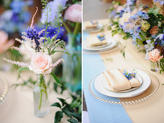 pink and blue floral filled reception @weddingchicks