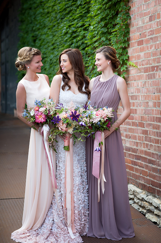 pink and purple bridesmaid dresses @weddingchicks