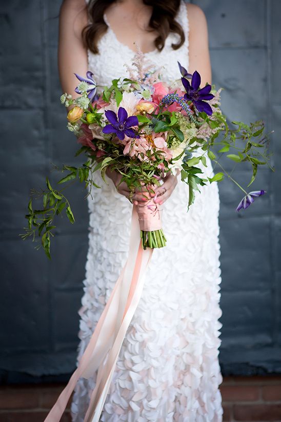 pink and purple bridal bouquet @weddingchicks