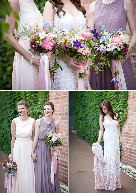 pink and purple bridesmaid bouquets @weddingchicks