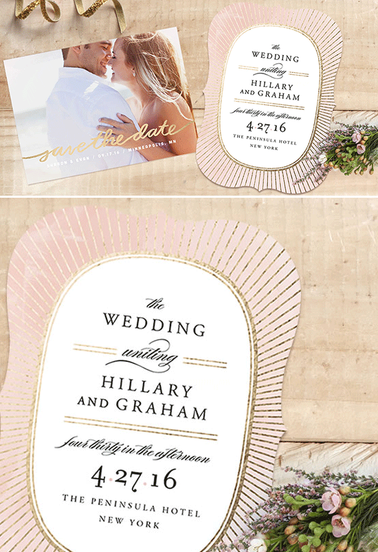 gold foil wedding invites from minted @weddingchicks