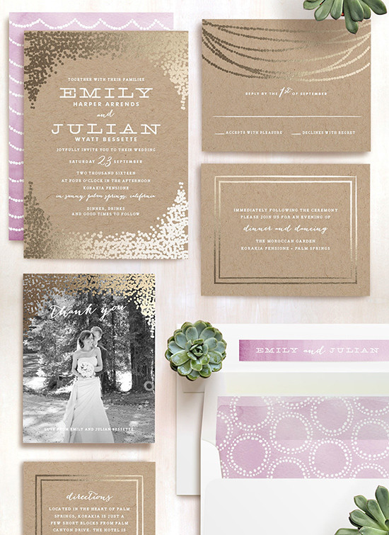 gold wedding invites from minted @weddingchicks