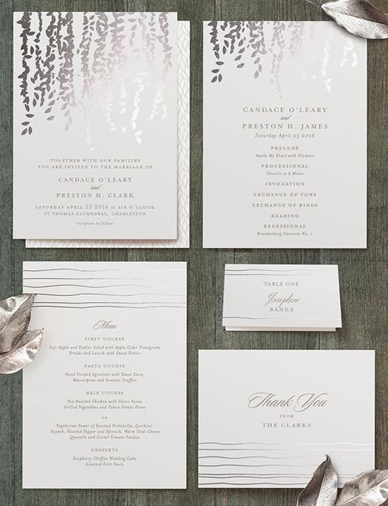 silver wedding invite @weddingchicks