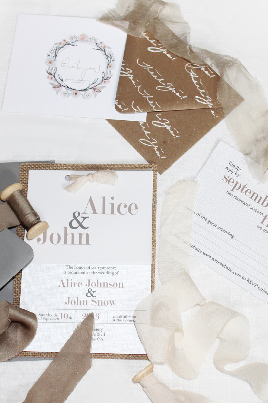 Boho chic wedding invitations from Your Wedding Countdown @weddingchicks