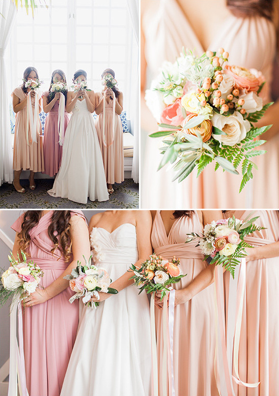 peach and pink bridesmaids @weddingchicks