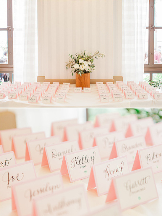 light pink escort cards @weddingchicks