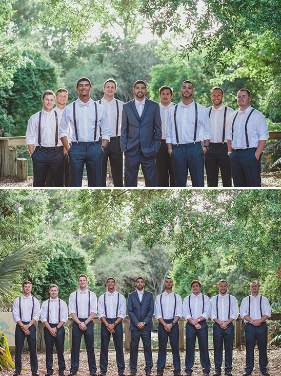 charcoal grey groomsmen in suspenders @weddingchicks