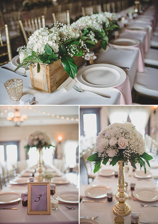 white hydrangea centerpieces @weddingchicks