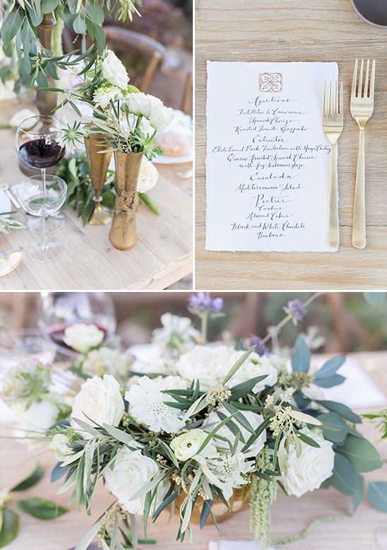 gold green and white table decor @weddingchicks