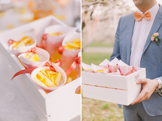 flower petal confetti cones @weddingchicks