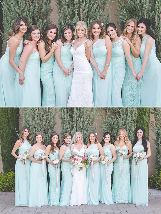 blue mismatched bridesmaid dresses @weddingchicks