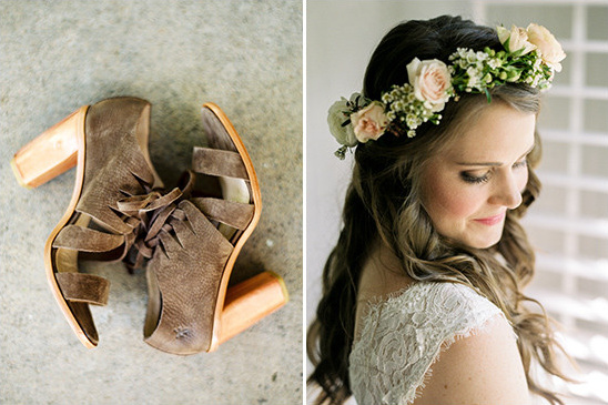 wedding shoes and flower halo @weddingchicks