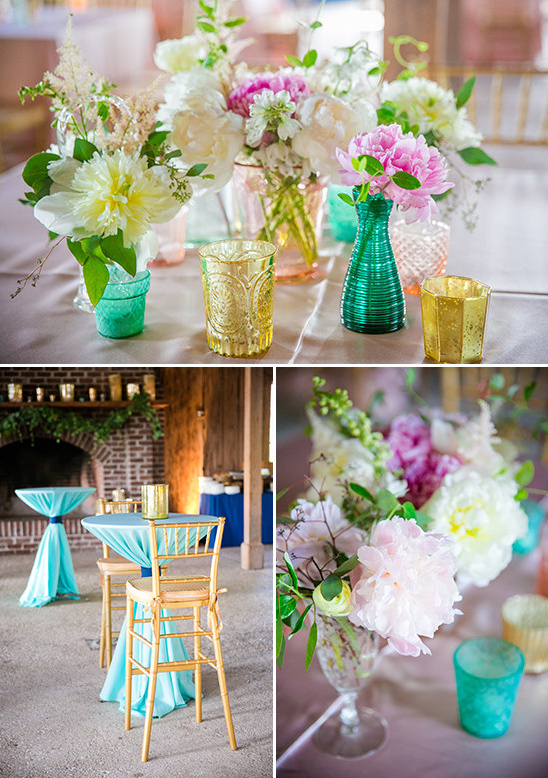 teal gold and pink decor @weddingchicks