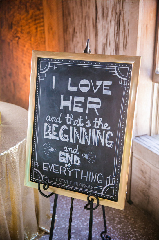 Gatsby quote wedding sign @weddingchicks