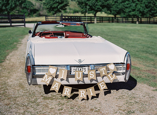 just married car bunting @weddingchicks